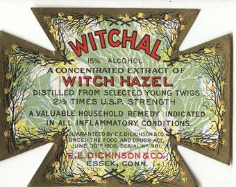 Vintage apothecary witch hazel drug pharmacy label advertisement