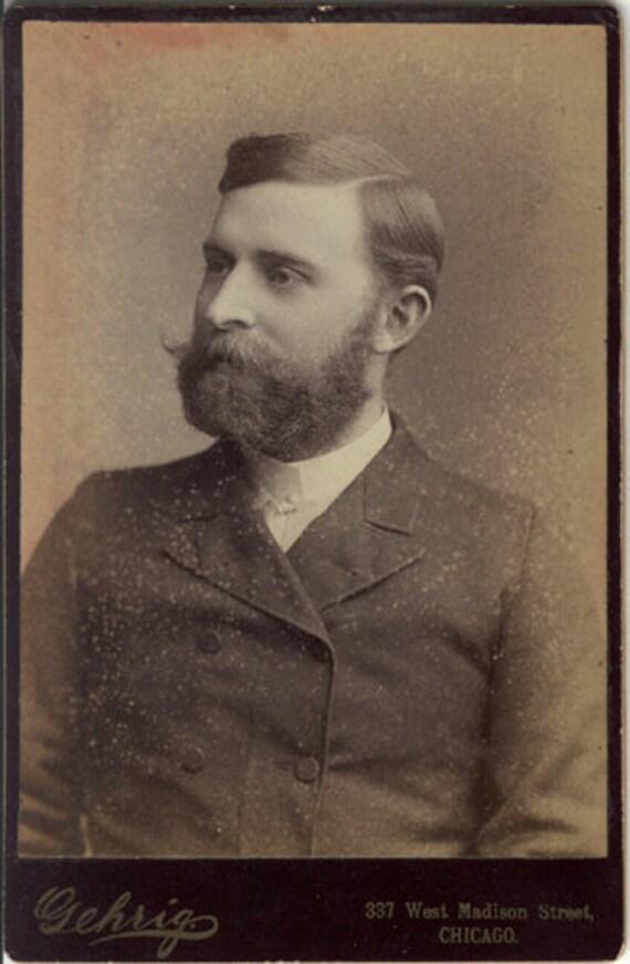 Pre-irony beard mustache antique photo