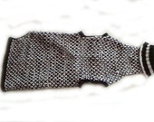 Knit Dog Turtleneck Sweater in Black and White Extra Large