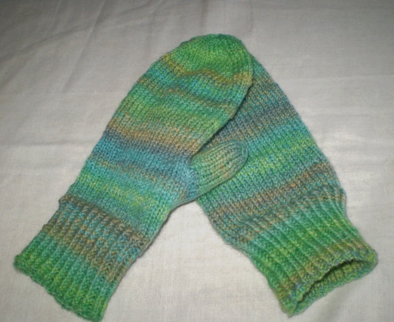 Hand knit mittens in green blue tan -- handspun corriedale wool yarn -- adult size