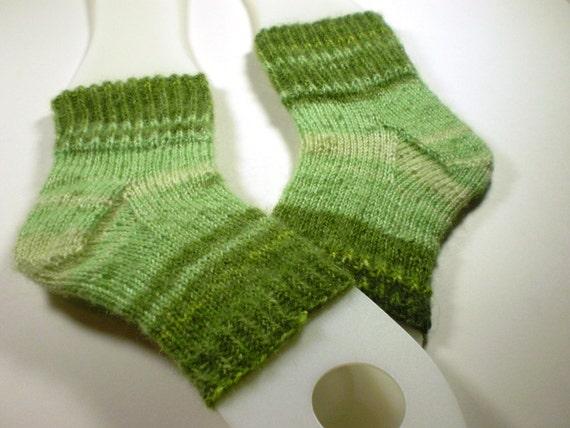 Toeless pedi socks -- Hand knit flip flop socks -- Mohair acrylic blend yarn -- green striped mini foot hugs