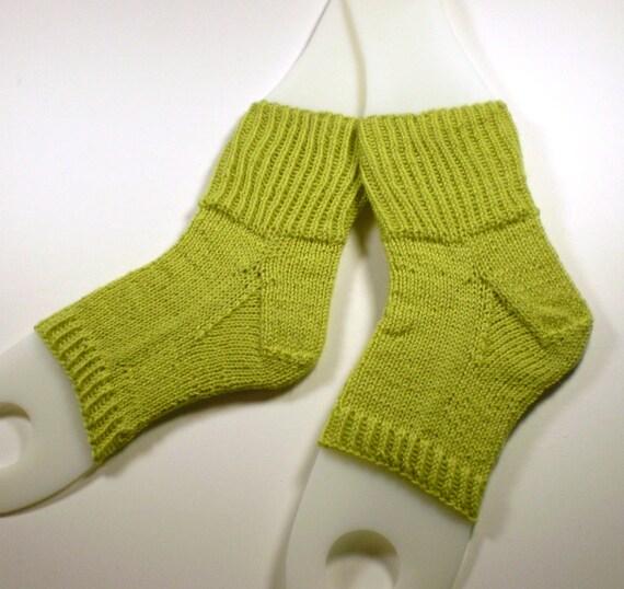 Hand knit flip flop socks -- Toeless pedi socks -- Mini foot hugs in chartreuse green -- 100% wool yarn