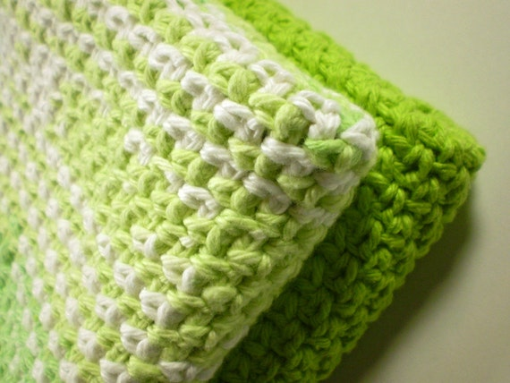 Crocheted dish cloth duo - two large square cloths - pair of two wash cloths - green white variegated and lime green cotton