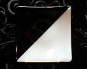 6 inch Square Fused Glass Sushi Plate, Black, White and Clear Glass