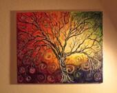 Swirl Tree  Acrylic Original Landscape Impasto Painting