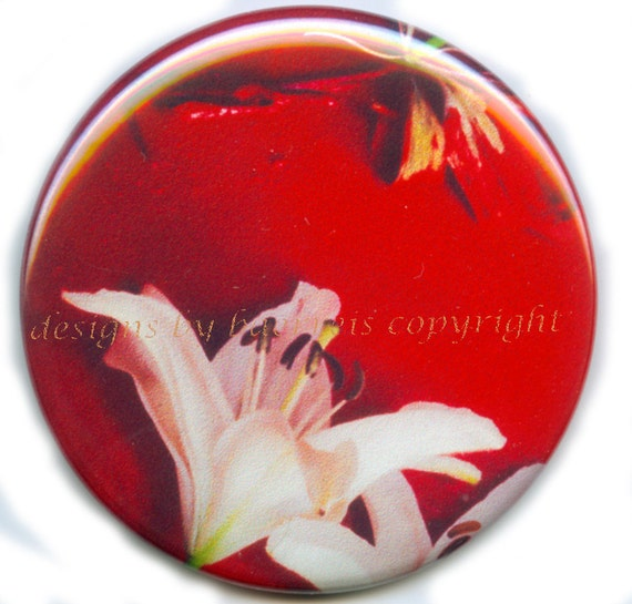 Flat Art Purse or Pocket Mirror - Original Photo of Red Daylily Collage