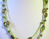 Green brown double row fashion necklace free shipping
