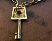 gold vintage key necklace FREE SHIPPING