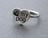 Love My Sterling Silver Charm Dog Ring, Custom