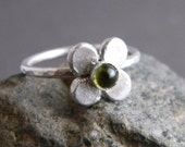 Four Leaf Clover Green Peridot Gemstone Sterling Silver Ring, Lucky, Unique, One of a Kind