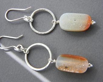Drusy Sterling Silver Earring Drops, Unique, One of a Kind, unique earrings, druzy, long earrings, gemstone earrings