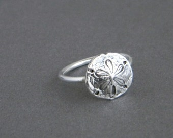 Sand Dollar Charm Ring, Sterling Silver ring, Beach, Summer jewelry, beach jewelry
