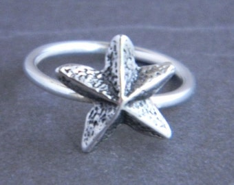 Starfish Sterling Silver Custom Charm Ring, silver ring, beach jewelry, summer jewelry,