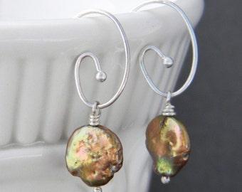 Bronze Coin Pearl Sterling Silver Earrings, Unique, One of a Kind, pearl earrings, copper earrings, fall earrings