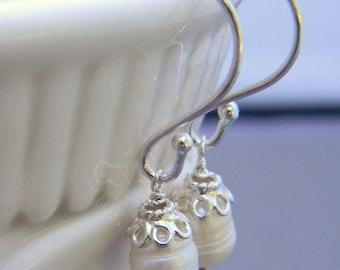 Classic Pearl Sterling Silver Earrings, Simple, Elegant, Bridal, Bridesmaid, Wedding