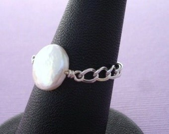 Coin Pearl Sterling silver Chain Ring, Pearl Ring, custom ring, chain ring