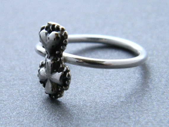 Heart Cross Sterling Silver Charm Ring, silver ring, heart ring, cross ring, silver band, charm ring