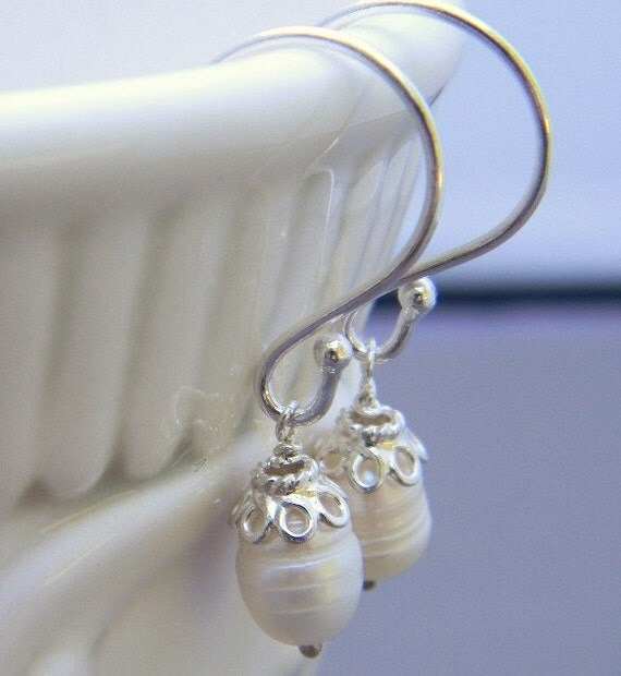Classic Pearl Sterling Silver Earrings, Simple, Elegant, Bridal, Bridesmaid, Wedding