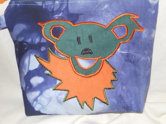 SALE Small GrateFul Dead Dancing Bear Blue Tye Dyed  Wristlet  Zipper Pouch