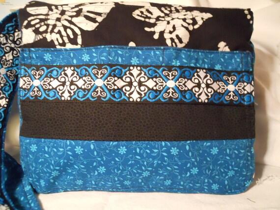 Medium Black Cotton Batik Butterflies & Turquoise Messenger Bag
