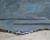 Blue Hills, Christmas, Original Landscape Painting on Paper