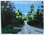 August Light, Original Landscape Collage Painting on Paper