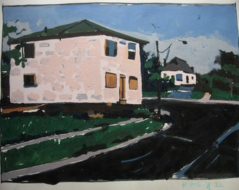 Pink House to Move, Original Urban Landscape Painting on Paper