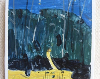 Night Walk, Fridge Magnet, Original Landscape Painting