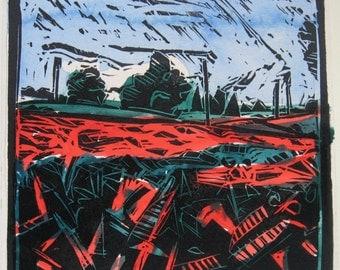 Original Hand Colored Landscape Print, Artist's Proof, Stooshinoff