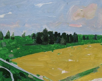 Original Landscape Painting on Paper, Yellow Field