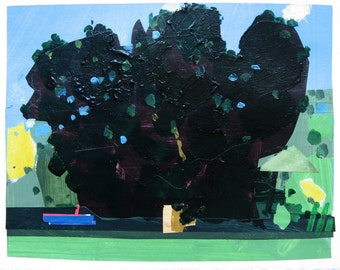Original Landscape Collage Painting on Paper, Shade Maple