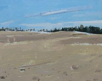 Original Landscape Painting on Panel,  Long View