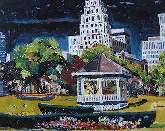 Toronto Spring, Original Urban Landscape Painting on Paper, Stooshinoff