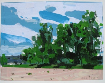Small Landscape Collage Painting on Paper, Early June