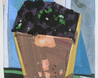 Seedlings, Original Still Life Collage Painting, Stooshinoff