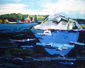 Blue Rock, Northern Landscape Painting on Paper, Original