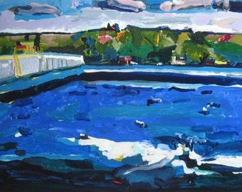 Dam, Larger Original Landscape Painting on Paper, Stooshinoff