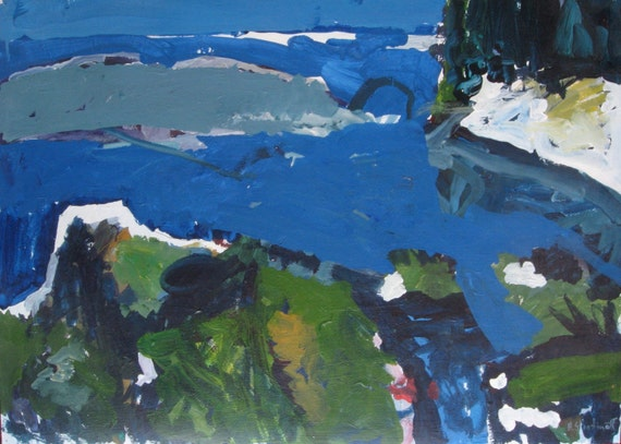 Cool Waters, Original Landscape Painting on Paper, Canadian