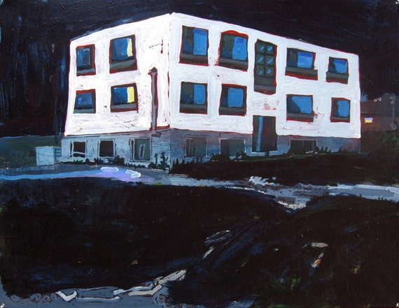 Larger Urban Landscape Painting, RESERVED FOR JENNIFER, Night Apartment, Stooshinoff