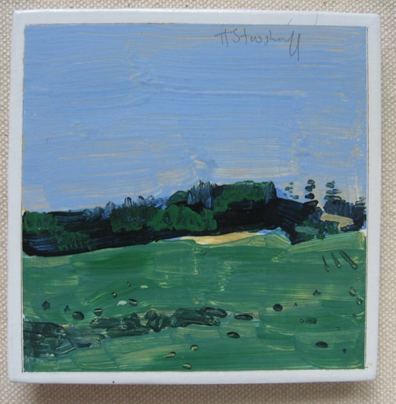 Green Field, Original Landscape Painting, FRIDGE MAGNET