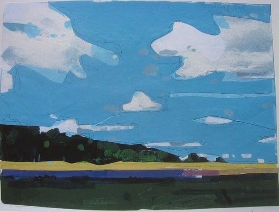 Archival Print of Landscape Painting, 8.5 x 11, Home Sky