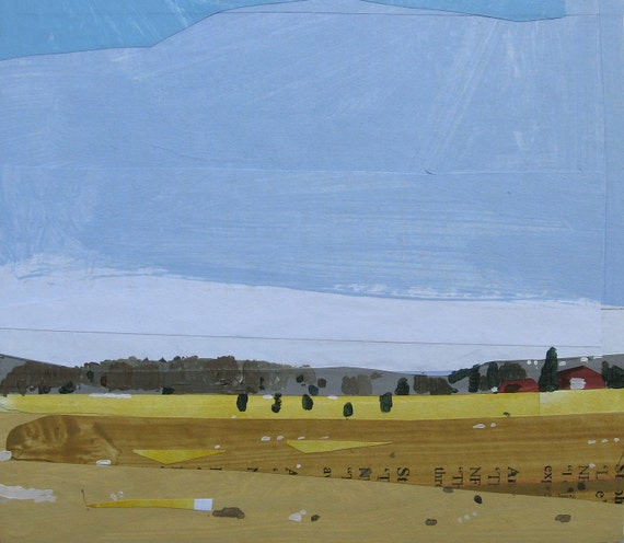 Original Landscape Collage Painting on Panel, Late March Field