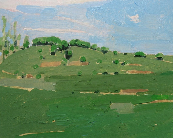 Original Landscape Painting on Paper, May 28/2011, 4:00 p.m., Lost Dog Hill