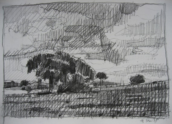 Original Landscape Drawing on Paper, Field Early July, Canada