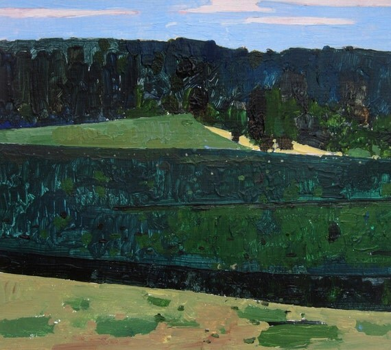 July Corn Field, Original Landscape Painting on Paper, Stooshinoff