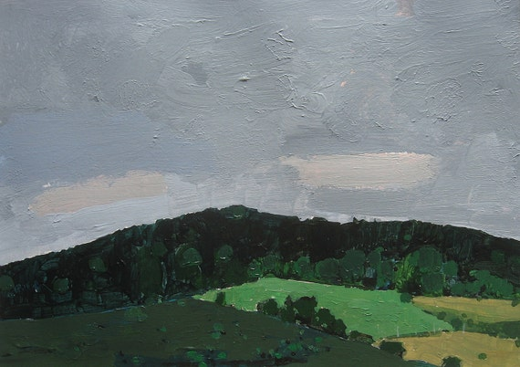 Rainy Sunday, Coyote Hill, Small Original Landscape Painting on Paper