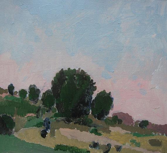 Dusk, Lost Dog Hill, Original Landscape Painting on Paper