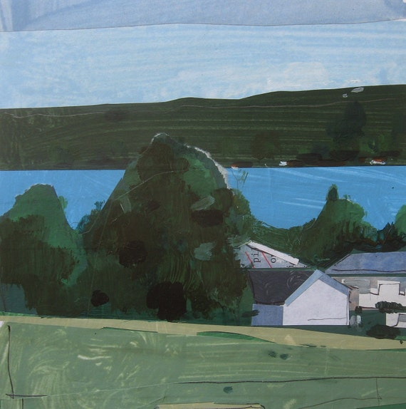 Rice Lake, Summer Morning, Original Landscape Collage Painting on Paper