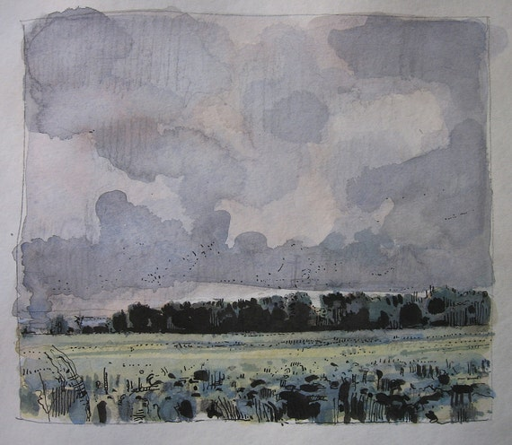 Overcast, Original Landscape Watercolor and Ink Painting, Canada