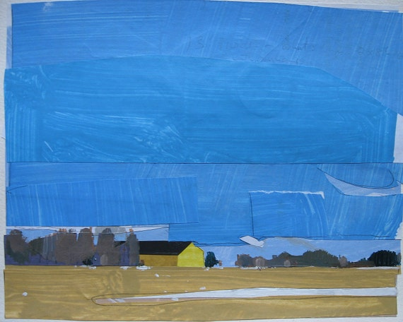 Machine Shed in Sunlight, Original Landscape Collage Painting on Paper